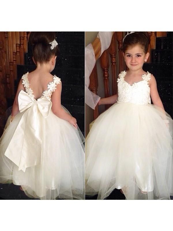 Ball Gown Bowknot Sweetheart Sleeveless Floor-Length Tulle Flower Girl Dresses
