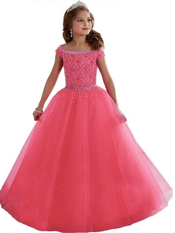Ball Gown Beading Off-the-Shoulder Sleeveless Floor-Length Tulle Flower Girl Dresses