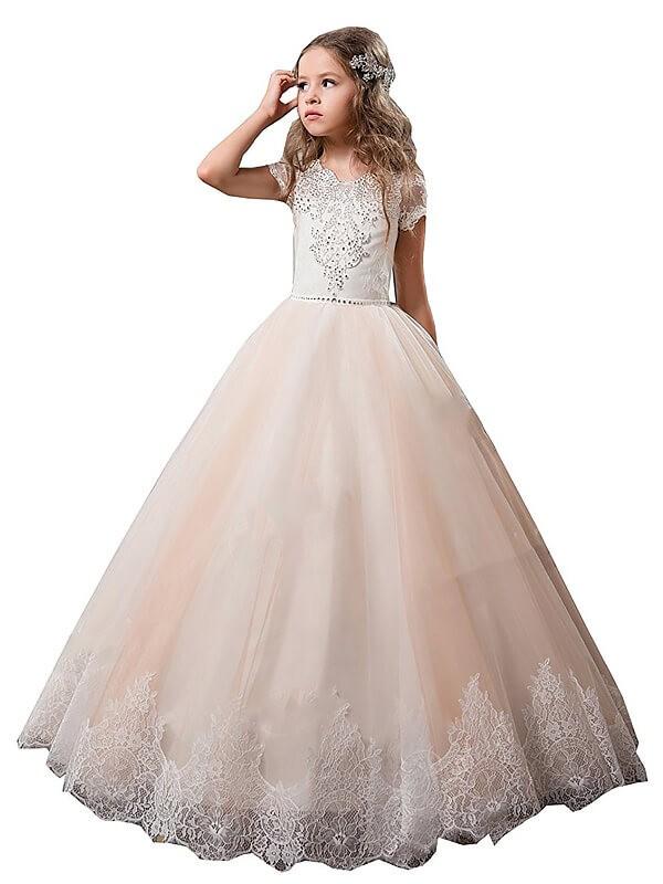 Ball Gown Lace V-neck Short Sleeves Floor-Length Tulle Flower Girl Dresses