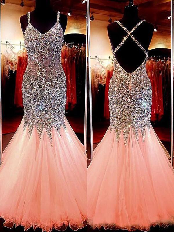 Trumpet/Mermaid Sequin V-neck Sleeveless Floor-Length Tulle Dresses