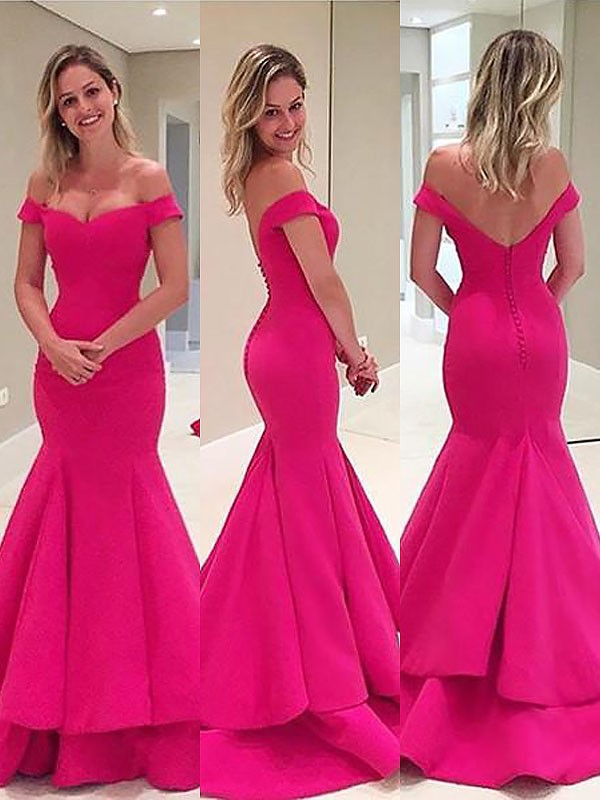 Trumpet/Mermaid Layers Off-the-Shoulder Sleeveless Sweep/Brush Train Satin Dresses