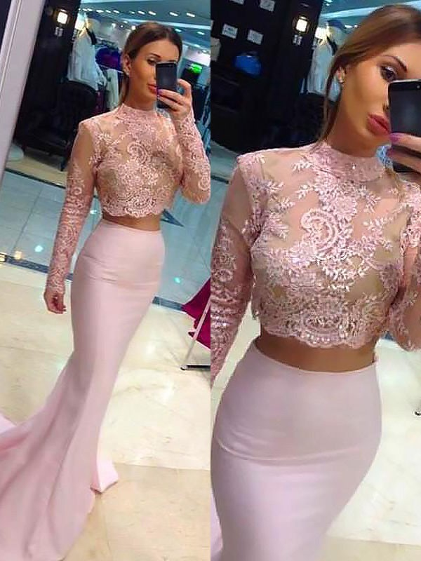 A-Line/Princess Lace High Neck Long Sleeves Sweep/Brush Train Satin Two Piece Dresses