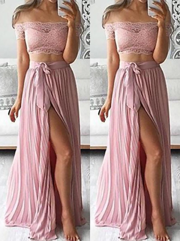 A-Line/Princess Lace Off-the-Shoulder Sleeveless Floor-Length Chiffon Two Piece Dresses
