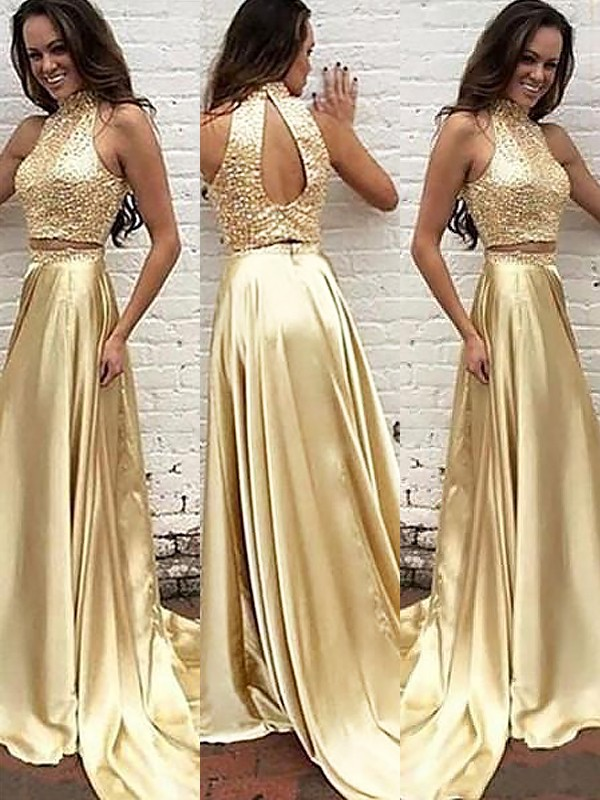 A-Line/Princess Beading High Neck Sleeveless Sweep/Brush Train Satin Two Piece Dresses