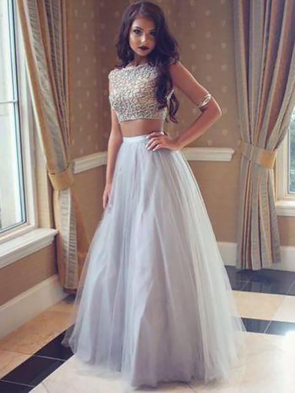 A-Line/Princess Beading Bateau Sleeveless Floor-Length Tulle Two Piece Dresses