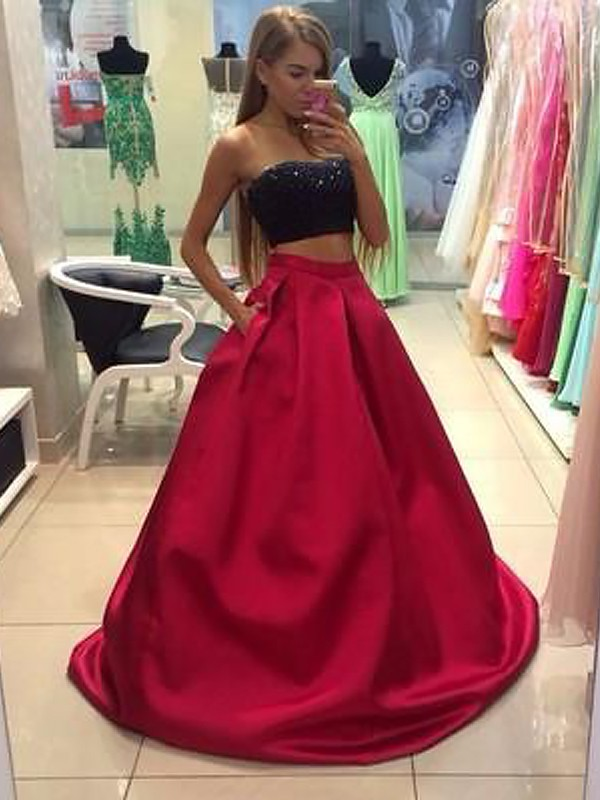 A-Line/Princess Beading Strapless Sleeveless Floor-Length Tulle Two Piece Dresses