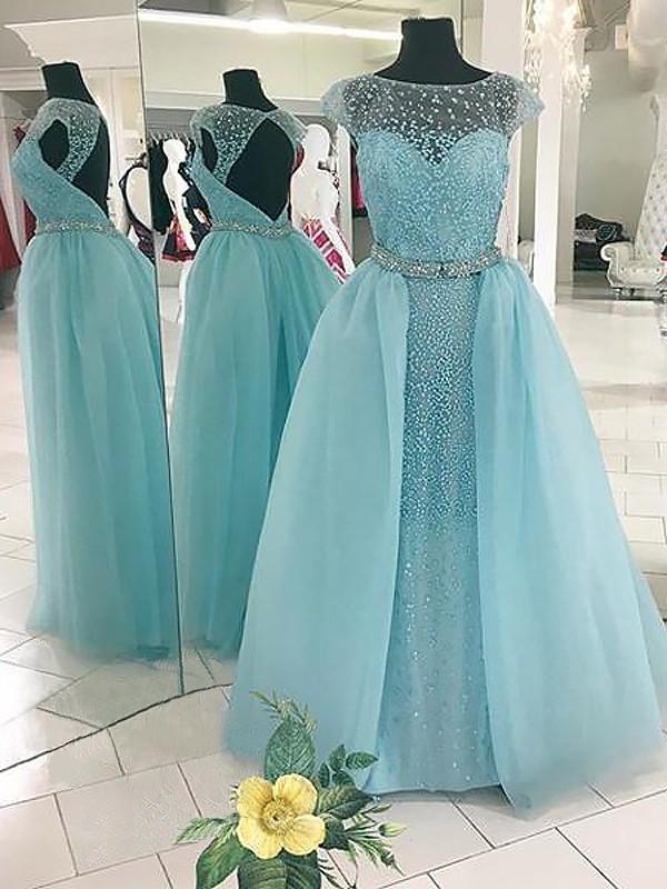 Ball Gown Beading Bateau Sleeveless Floor-Length Tulle Dresses