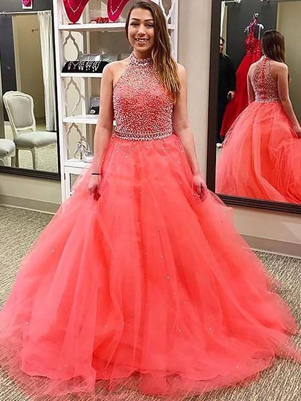 Ball Gown Beading Halter Sleeveless Floor-Length Tulle Dresses