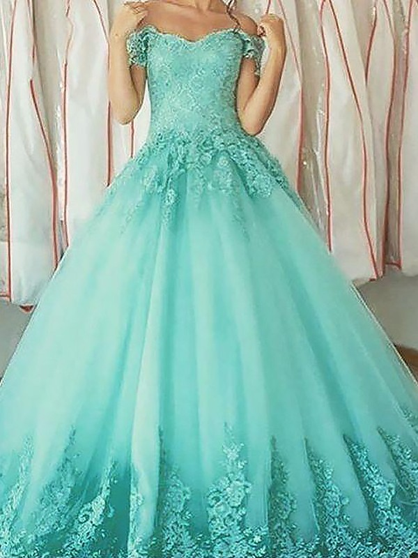 Ball Gown Applique Off-the-Shoulder Sleeveless Floor-Length Tulle Dresses