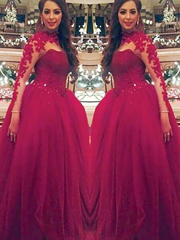 Ball Gown Applique High Neck Long Sleeves Floor-Length Tulle Dresses