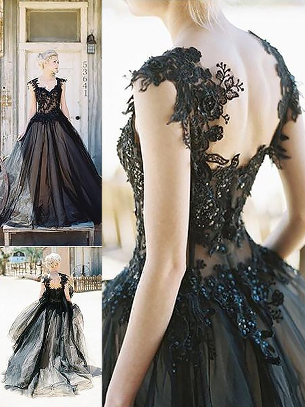 Ball Gown Lace Sweetheart Sleeveless Sweep/Brush Train Tulle Dresses