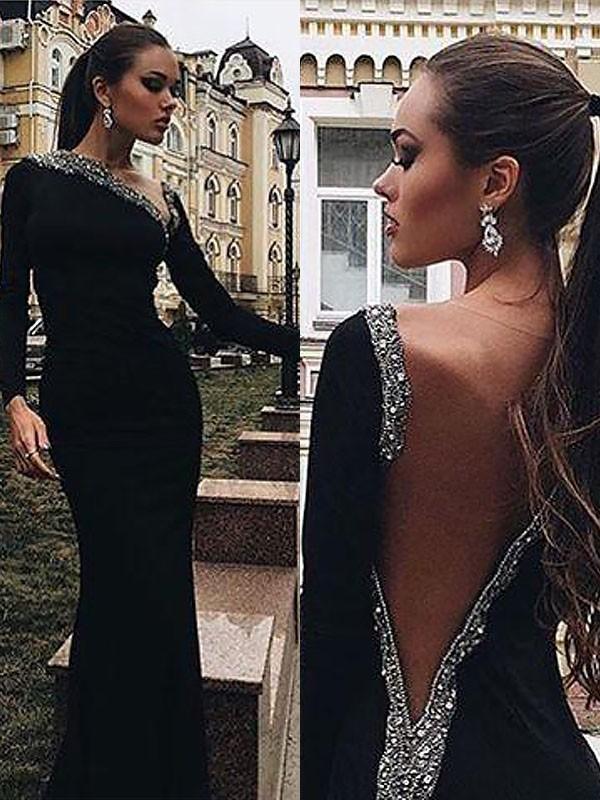 Trumpet/Mermaid Beading One-Shoulder Long Sleeves Floor-Length Spandex Dresses