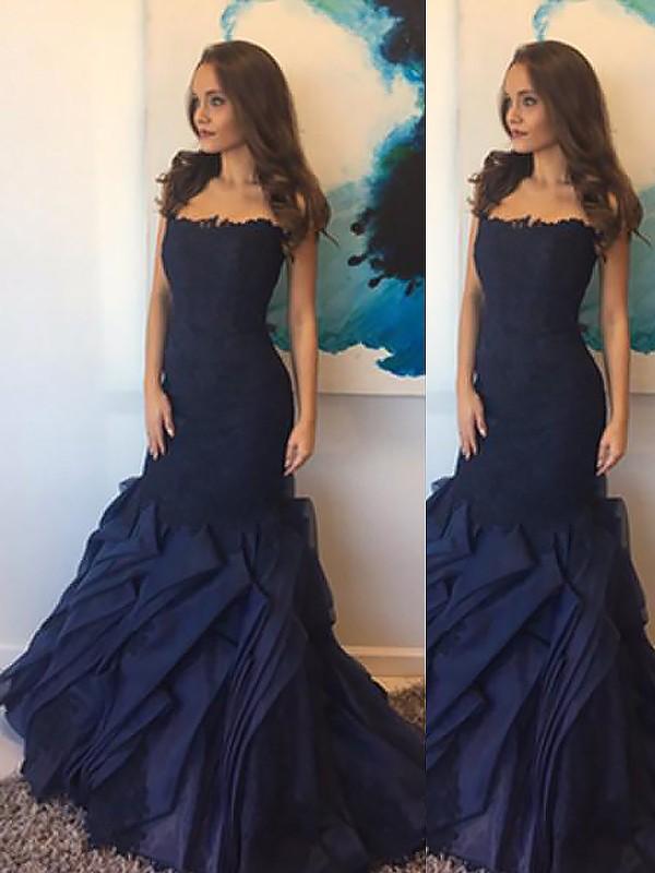 Trumpet/Mermaid Lace Strapless Sleeveless Floor-Length Taffeta Dresses