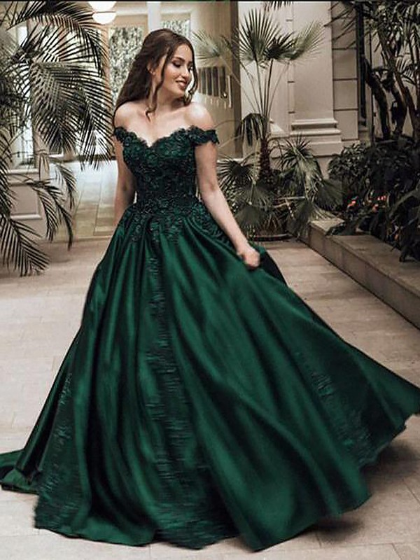 Ball Gown Lace Off-the-Shoulder Sleeveless Floor-Length Satin Dresses