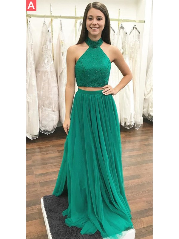 A-Line/Princess Beading Halter Sleeveless Floor-Length Tulle Two Piece Dresses