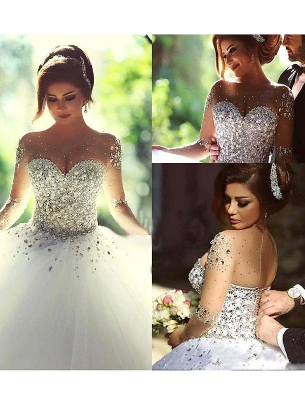 Ball Gown Beading Scoop Long Sleeves Court Train Tulle Wedding Dresses