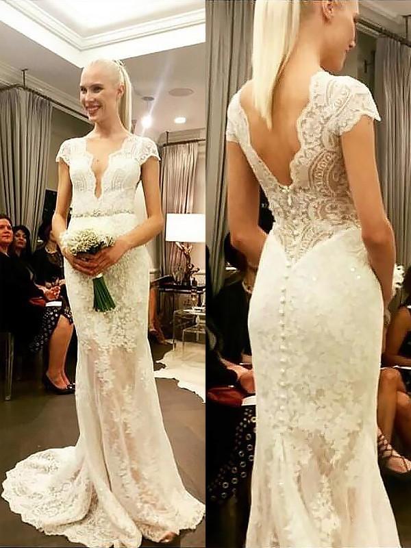 Sheath/Column V-neck Short Sleeves Sweep/Brush Train Lace Wedding Dresses