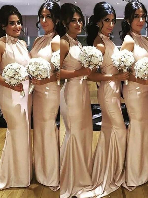 Trumpet/Mermaid Halter Sleeveless Sweep Brush Train Satin Bridesmaid Dresses