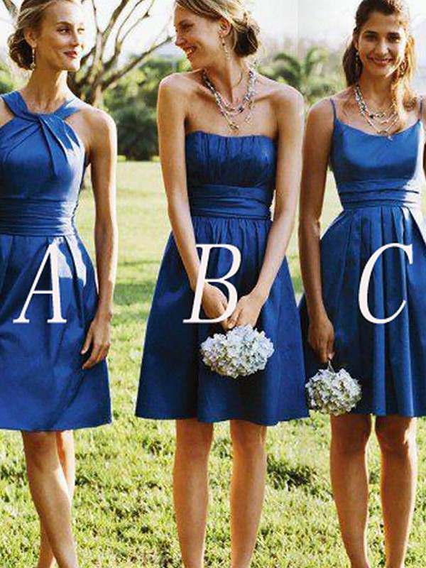 A-Line/Princess Sleeveless Short/Mini Satin Bridesmaid Dresses
