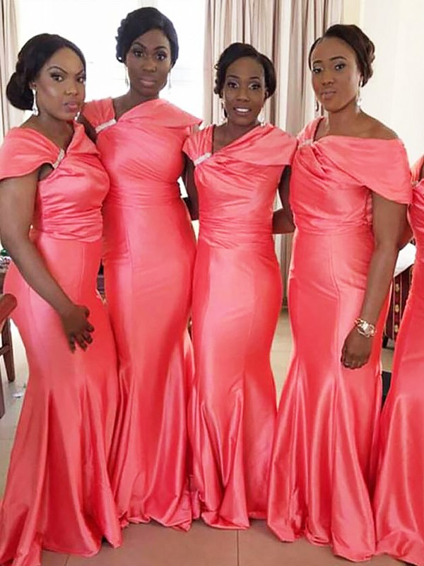 Trumpet/Mermaid Off-the-Shoulder Sleeveless Floor-Length Satin Bridesmaid Dresses