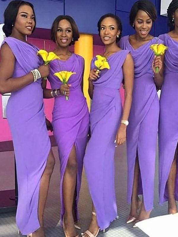 Sheath/Column Scoop Sleeveless Floor-Length Chiffon Bridesmaid Dresses