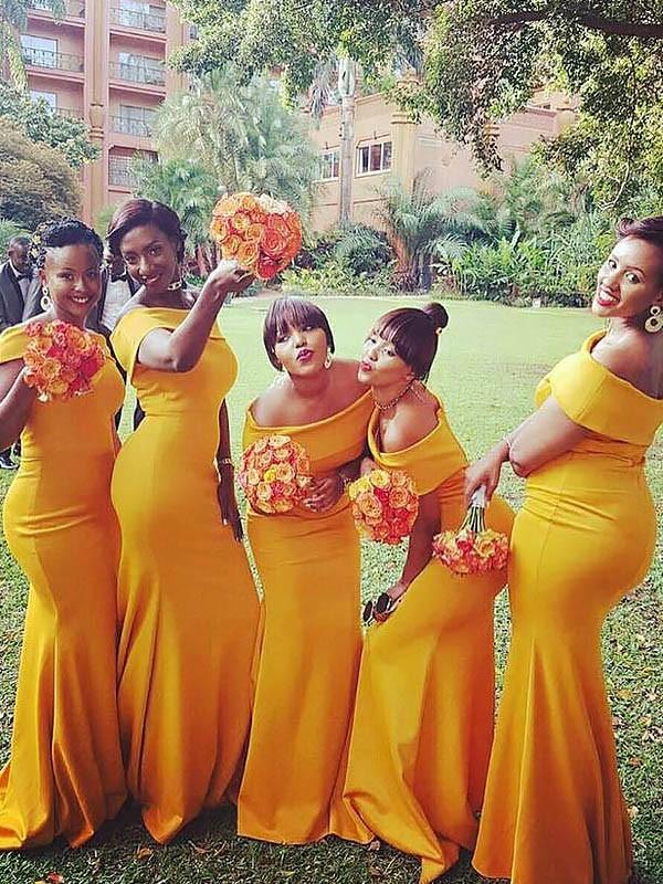 Trumpet/Mermaid Off-the-Shoulder Sleeveless Sweep/Brush Train Satin Bridesmaid Dresses