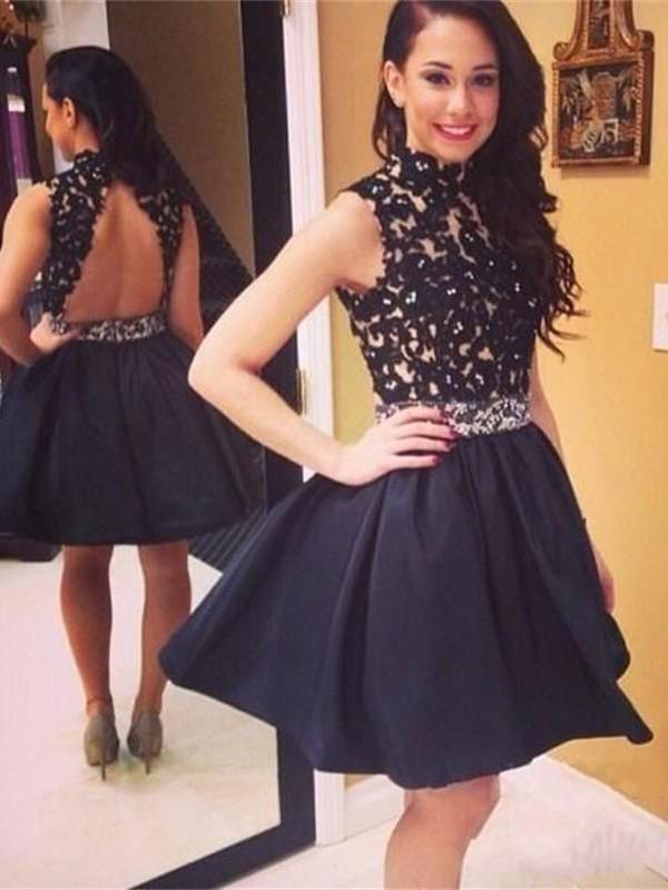 A-Line/Princess Lace High Neck Sleeveless Short/Mini Taffeta Dresses