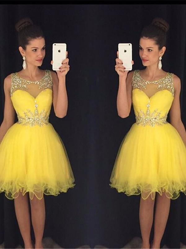 A-Line/Princess Beading Scoop Sleeveless Short/Mini Tulle Dresses