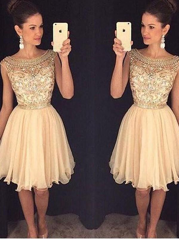 A-Line/Princess Beading Scoop Sleeveless Short/Mini Chiffon Dresses