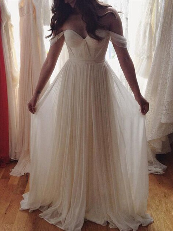 A-Line/Princess Beading Off-the-Shoulder Sleeveless Floor-Length Chiffon Wedding Dresses
