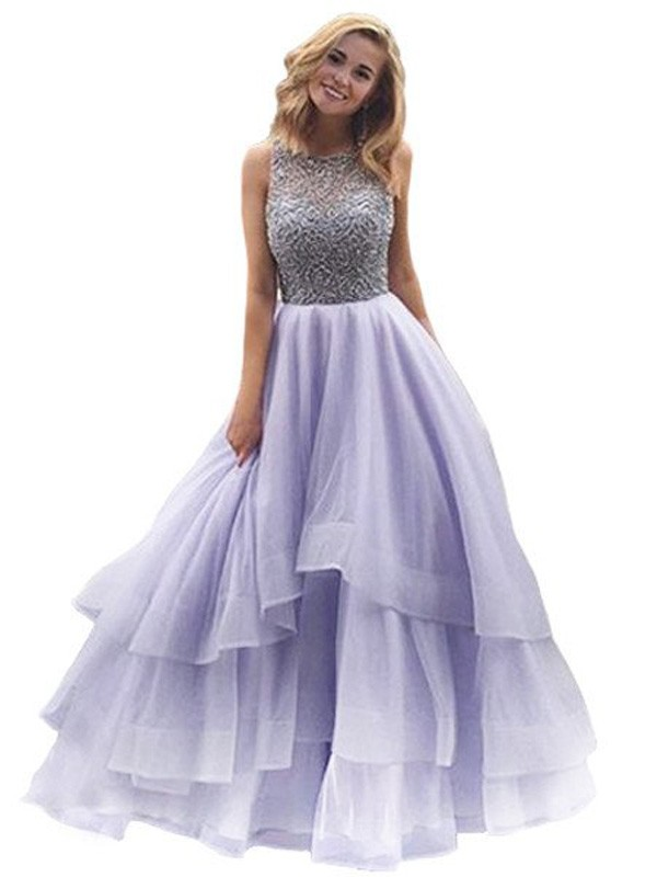 Ball Gown Beading Scoop Sleeveless Floor-Length Organza Dresses