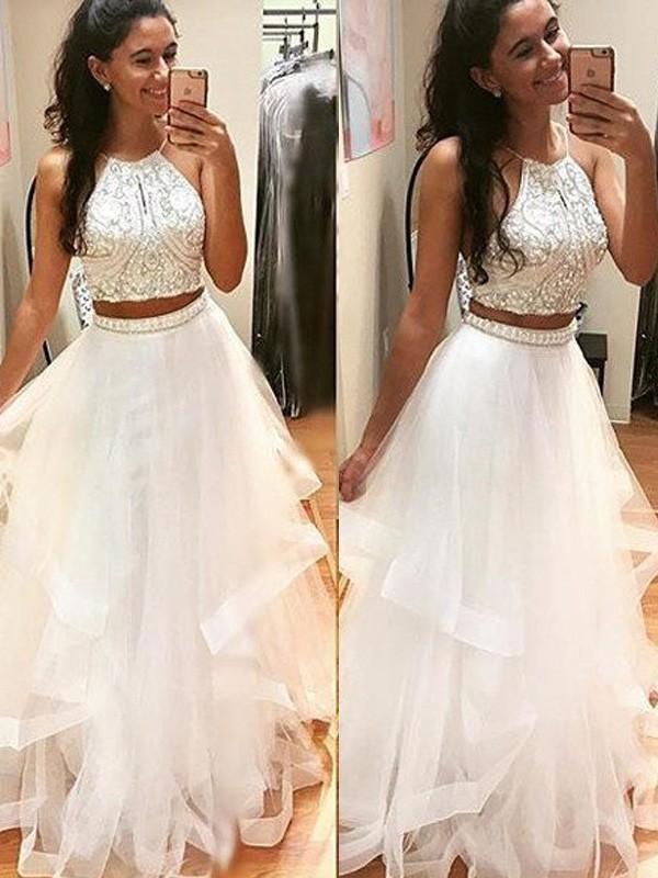 A-Line/Princess Beading Halter Sleeveless Floor-Length Tulle Dresses