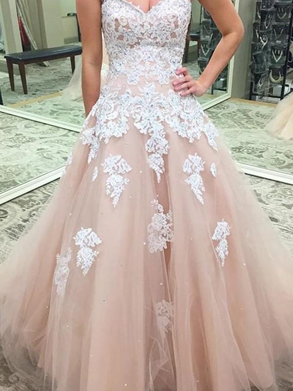 Ball Gown Applique Sweetheart Sleeveless Floor-Length Tulle Dresses