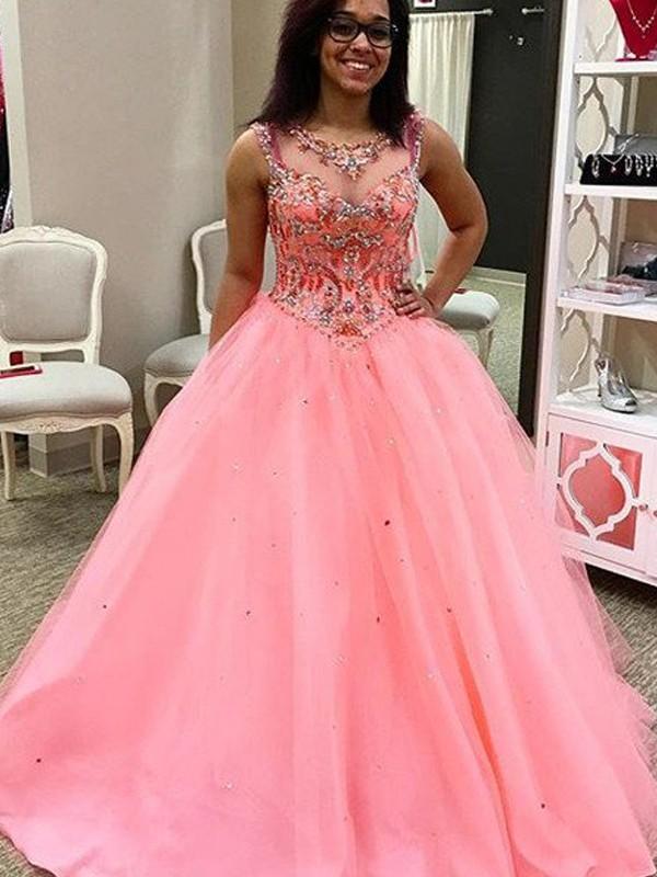 Ball Gown Beading Sweetheart Sleeveless Floor-Length Tulle Dresses