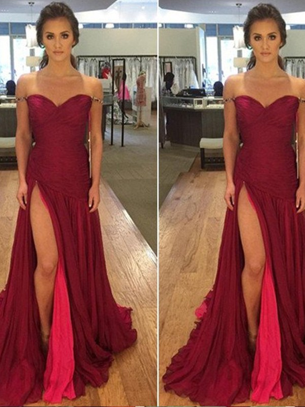 A-Line/Princess Off-the-Shoulder Sleeveless Sweep/Brush Train Chiffon Dresses