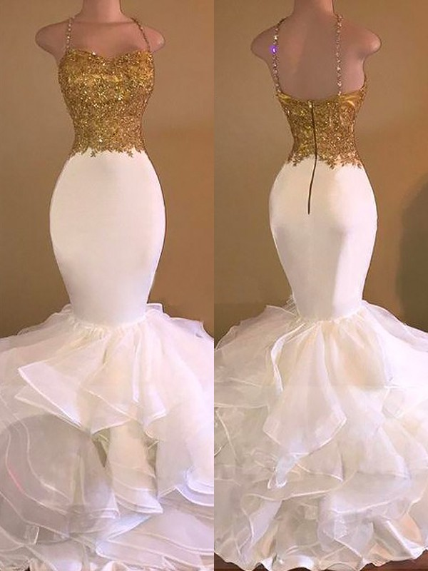 Trumpet/Mermaid Applique Spaghetti Straps Sleeveless Floor-Length Organza Dresses