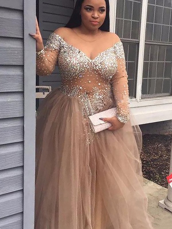 Ball Gown Sequin Off-the-Shoulder Long Sleeves Floor-Length Tulle Dresses