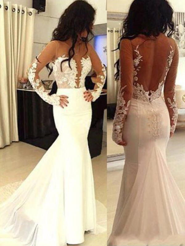 Trumpet/Mermaid Applique Scoop Long Sleeves Sweep/Brush Train Satin Wedding Dresses