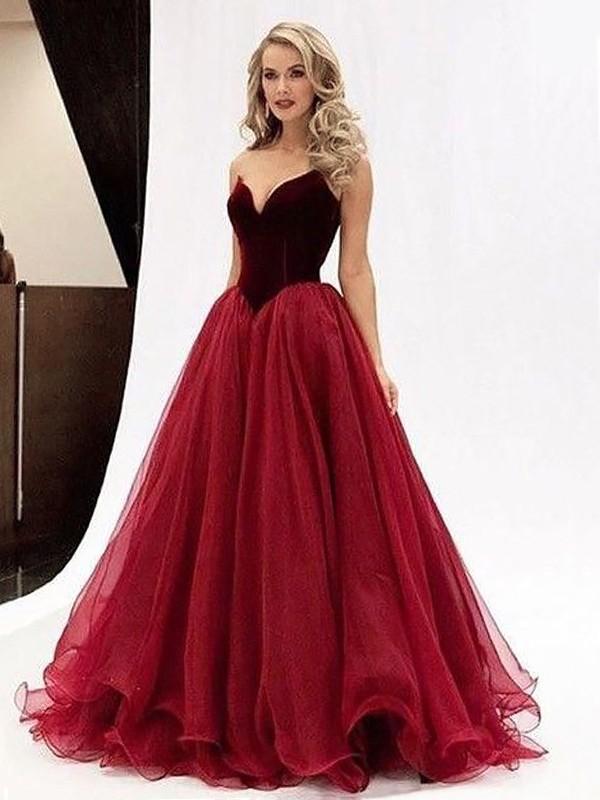 Ball Gown Sweetheart Sleeveless Floor-Length Tulle Dresses