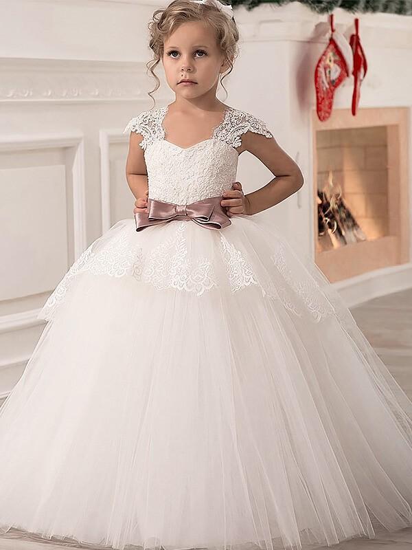 Ball Gown Sash/Ribbon/Belt Straps Sleeveless Floor-Length Tulle Flower Girl Dresses