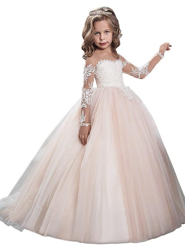 Ball Gown Scoop Long Sleeves Sweep/Brush Train Tulle Flower Girl Dresses