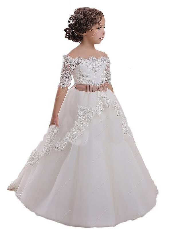 Ball Gown Sash/Ribbon/Belt Off-the-Shoulder Short Sleeves Sweep/Brush Train Tulle Flower Girl Dresses