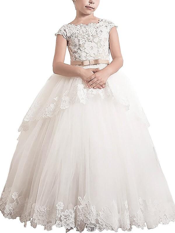 Ball Gown Lace Scoop Sleeveless Floor-Length Tulle Flower Girl Dresses