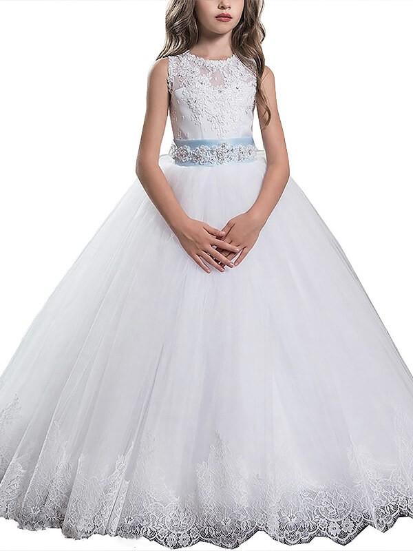 Ball Gown Applique Scoop Sleeveless Floor-Length Tulle Flower Girl Dresses