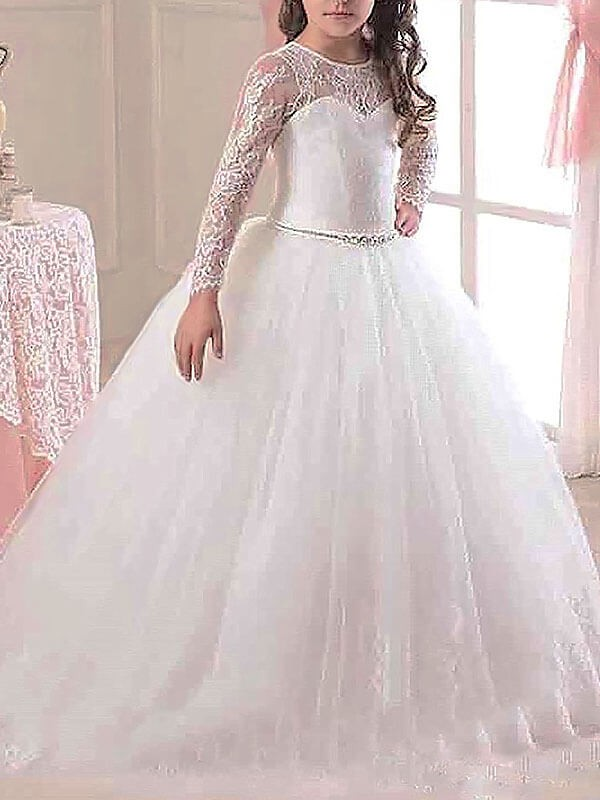 Ball Gown Lace Scoop Long Sleeves Floor-Length Tulle Flower Girl Dresses