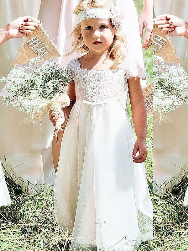 A-Line/Princess Lace Square Short Sleeves Floor-Length Chiffon Flower Girl Dresses