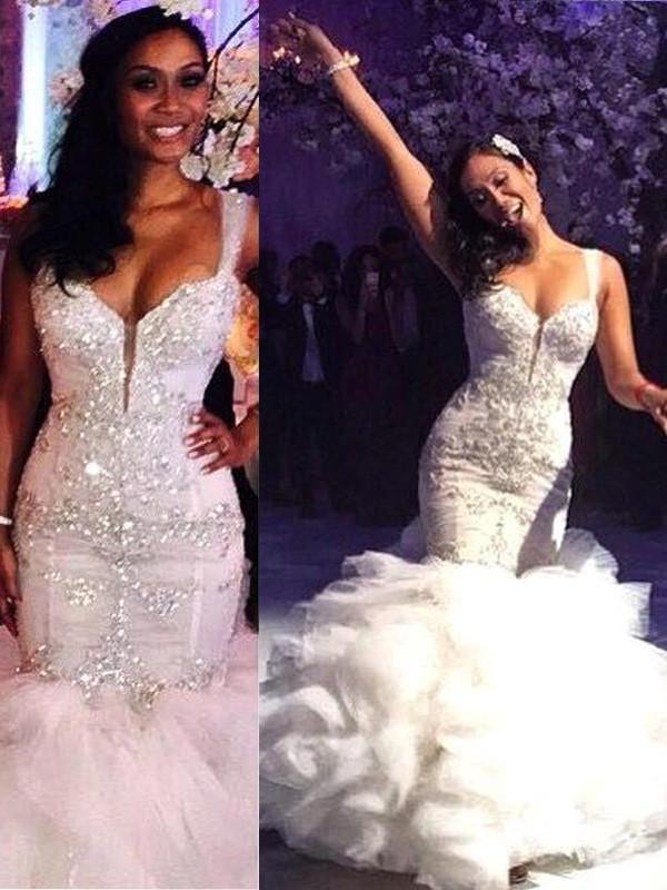 Trumpet/Mermaid Straps Sleeveless Sweep/Brush Train Organza Wedding Dresses