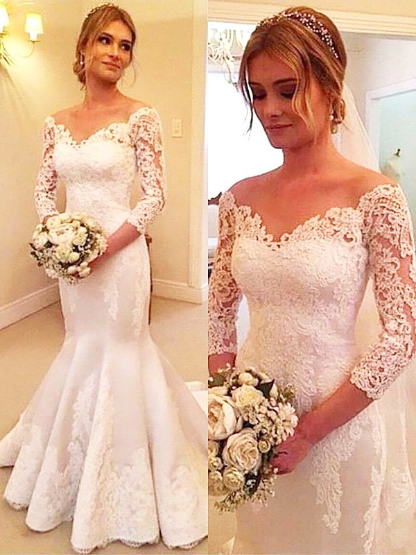 Trumpet/Mermaid Off-the-Shoulder 3/4 Sleeves Court Train Satin Wedding Dresses