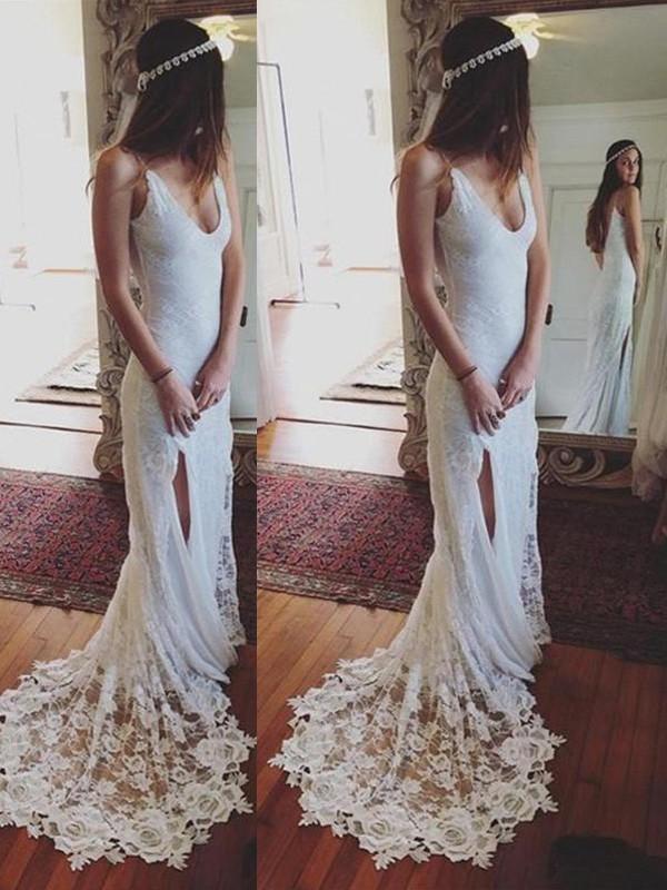 Sheath/Column Straps Sleeveless Court Train Lace Wedding Dresses