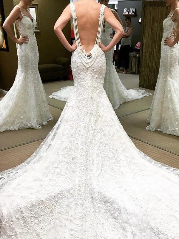 Trumpet/Mermaid Straps Sleeveless Chapel Train Lace Wedding Dresses
